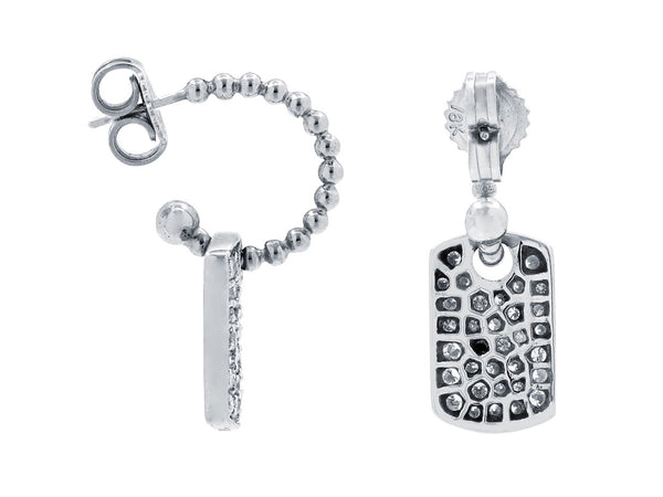 Pavé Set Diamond Dog Tag Earrings