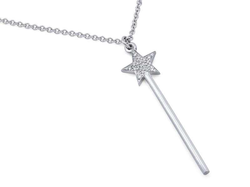 Pavé Set Diamond Star Wand Necklace