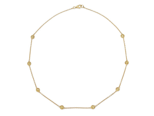Pavé Set Yellow Sapphire Dot Necklace