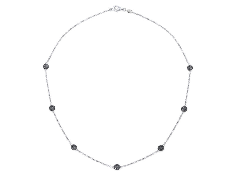 Pavé Set Black Diamond Dot Necklace