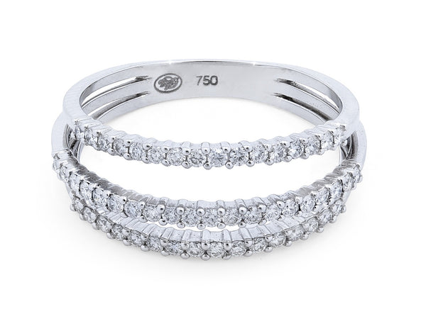 Three Row Pavé Set Diamond Ring