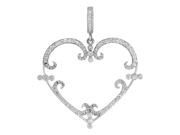 Pavé Set Diamond Filigreen Heart Pendant
