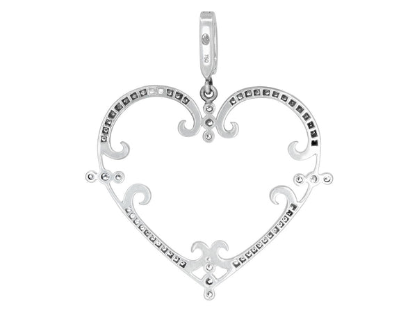 Medium Pavé Set Diamond Filigreen Heart Pendant