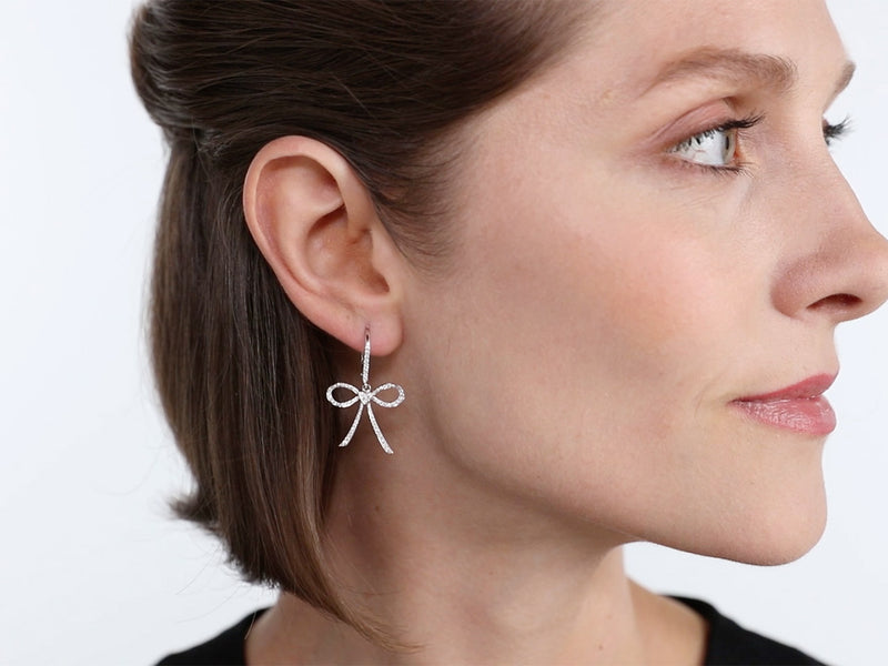 Pavé Set Diamond Bow Earrings