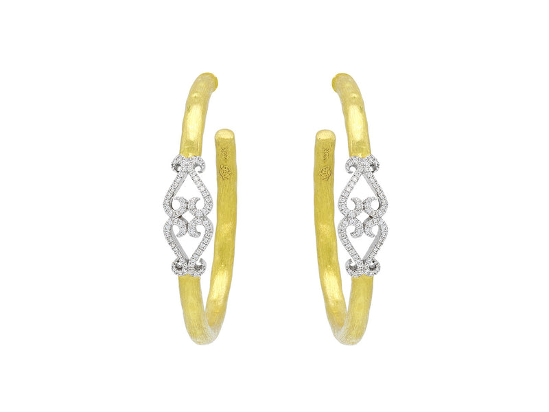 Pavé Set Diamond Double-Heart Hoop Earrings
