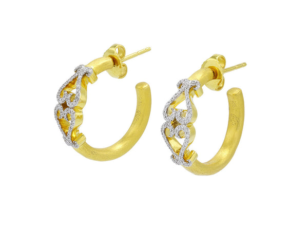 Pavé Set Diamond Double-Heart Hoop Earrings, Small