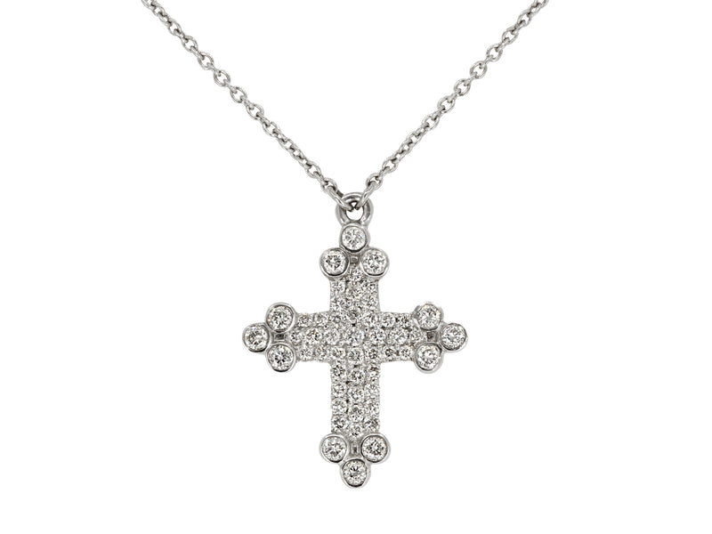 Pavé Set Diamond Cross Pendant Necklace