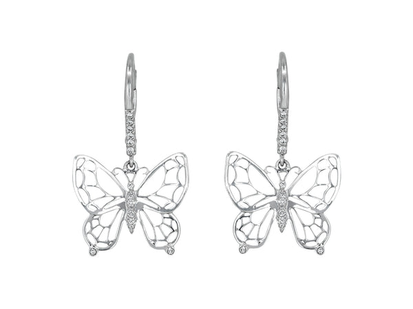 Pavé Set Diamond Butterfly Earrings