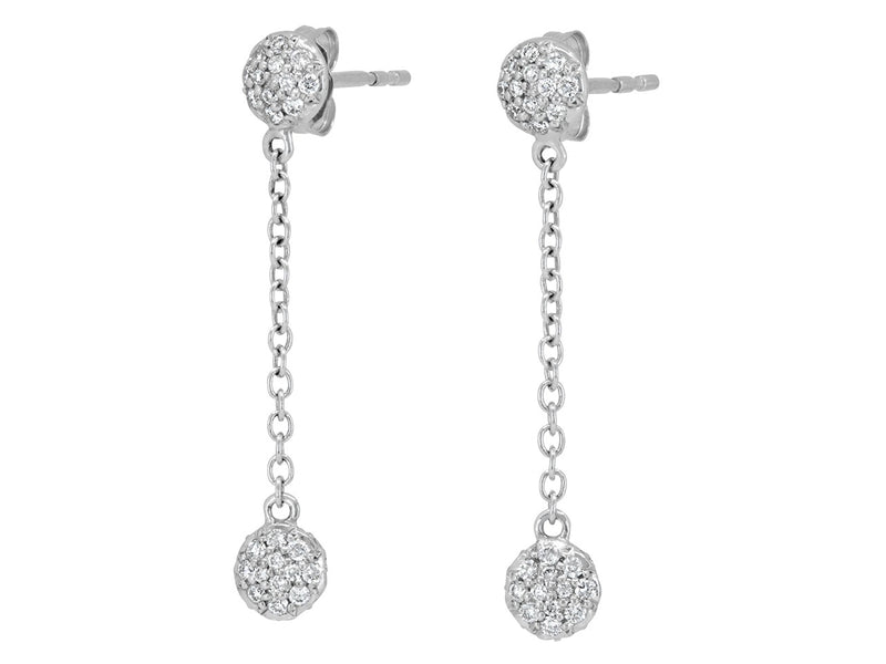 Pavé Set Diamond Dot Dangle Earrings