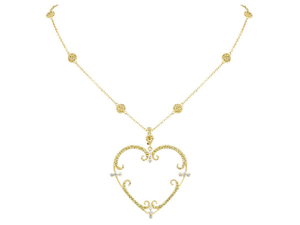 Pavé Set Yellow Sapphire Heart Pendant Necklace
