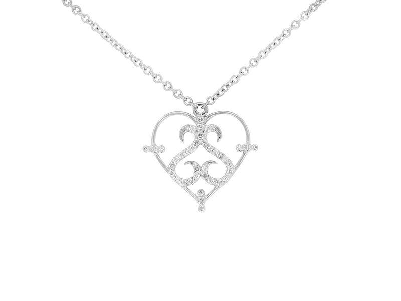 Pavé Set Diamond Heart Pendant
