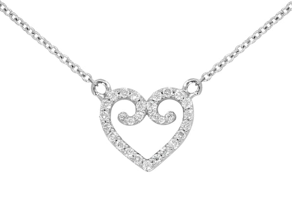 Pavé Set Diamond Heart Pendant Necklace