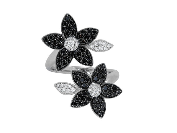 Pavé Set Diamond Flower Bypass Ring