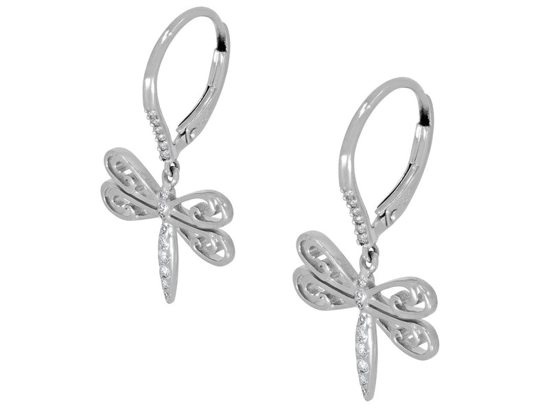 Pavé Set Diamond Dragonfly Earrings