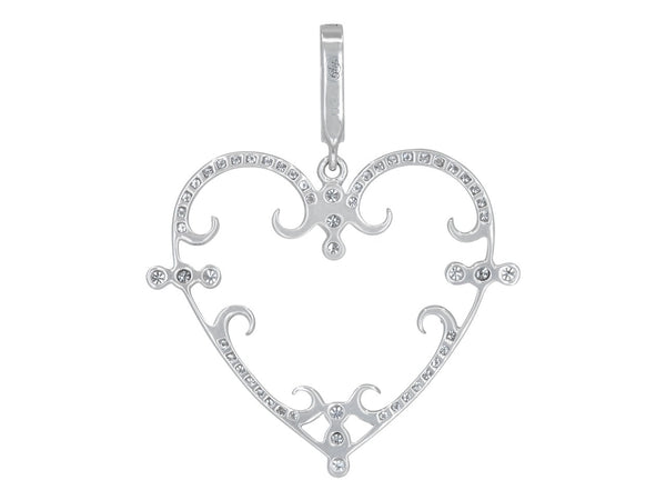 Small Pavé Set Diamond Filigreen Heart Pendant