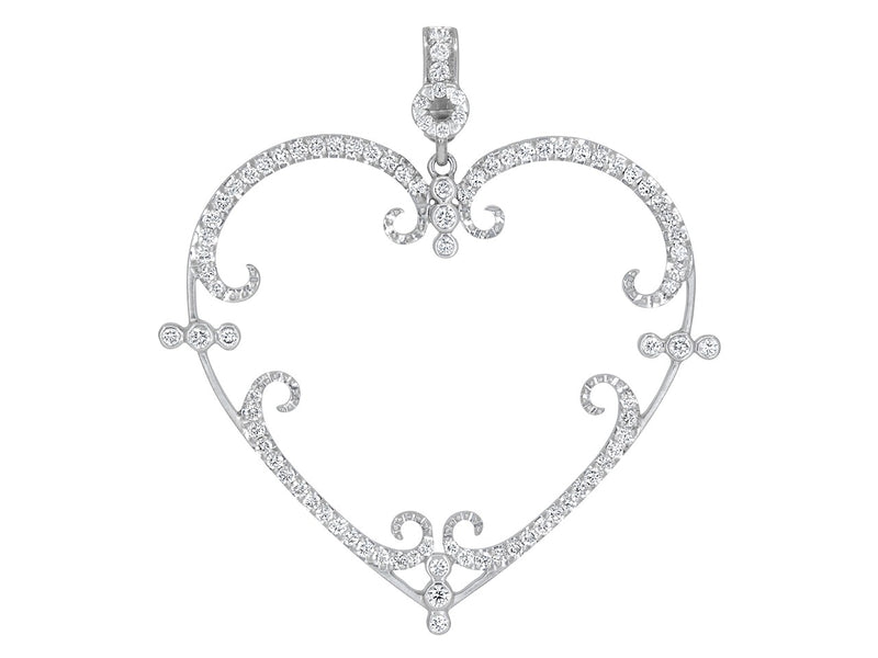 Large Pavé Set Diamond Filigreen Heart Pendant