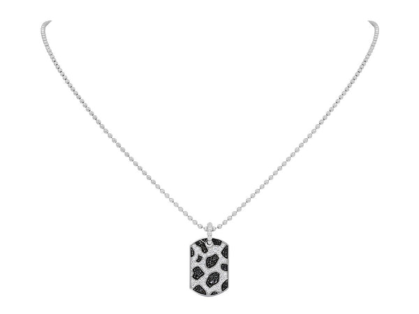 Pavé Set Diamond Snow Leopard Dog Tag