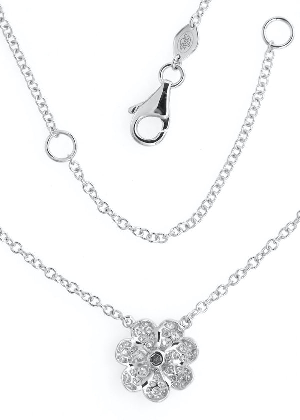 Pavè Diamond Flower Pendant Necklace in 18K White Gold