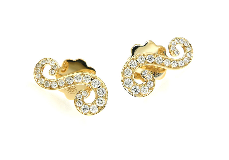 Pavé Set Diamond Swirl Earrings