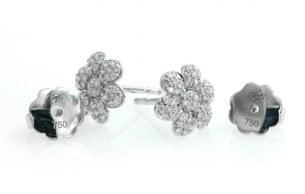 Pavè Diamond Flower Earrings in 18K