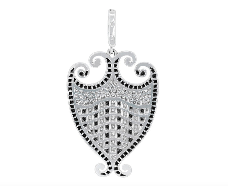 'Filigreen' Crest Black and White Diamond Pendant