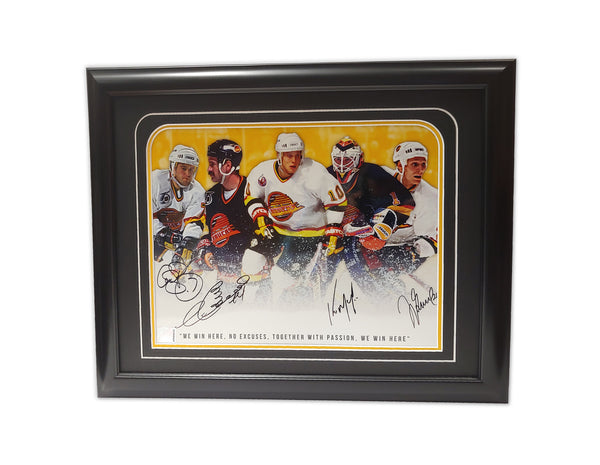 Cliff Ronning, Dave Babych, Kirk Mclean, Jyrkee Lumme Vancouver Canucks 19.5x16.5 Framed Autographed Print