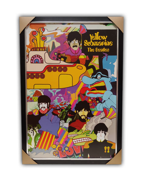 "The Beatles "" YELLOW SUBMARINE "" 27' x 39'  Texturized Framed Licensed Print"