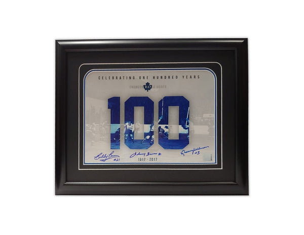 Toronto Maple Leafs 100 Year Anniversary 1917 - 2017 19.5x16.5 Framed Print Autographed by Johnny Bower, Bobby Baun, Norm Ullman