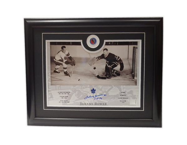 Johnny Bower Gordie Howe Toronto Maple Leafs Hall of Fame '76 19.5x16.5 Framed Autographed Print