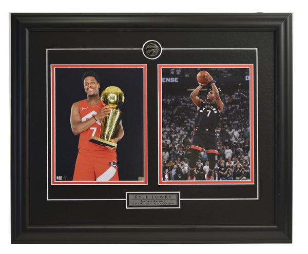 Toronto Raptors Kyle Lowry Trophies & Action Shot Two Framed Licensed 8x10 Photos WTN-13