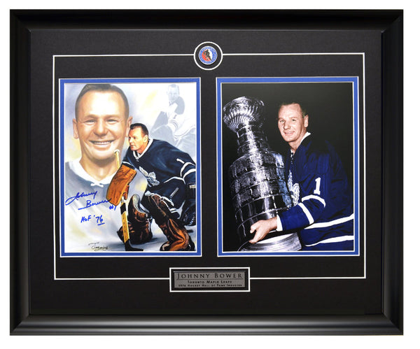 Toronto Maple Leafs Johnny Bower Collage Autographed & Holding The Cup Unsigned Framed 8x10 Photos