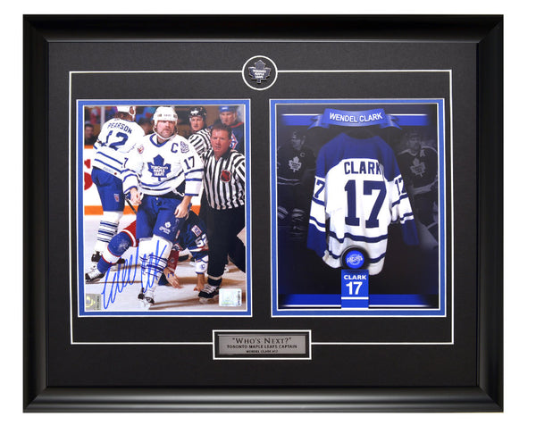 Toronto Maple Leafs Wendel Clark Action Shot Autographed & Tribute Unsigned Framed 8x10 Photos
