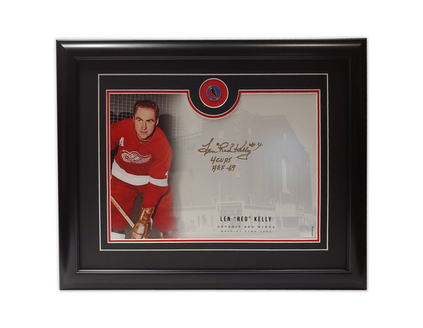"Len ""Red"" Kelly Detroit Red Wings 19.5x16.5 Framed Autographed Print"