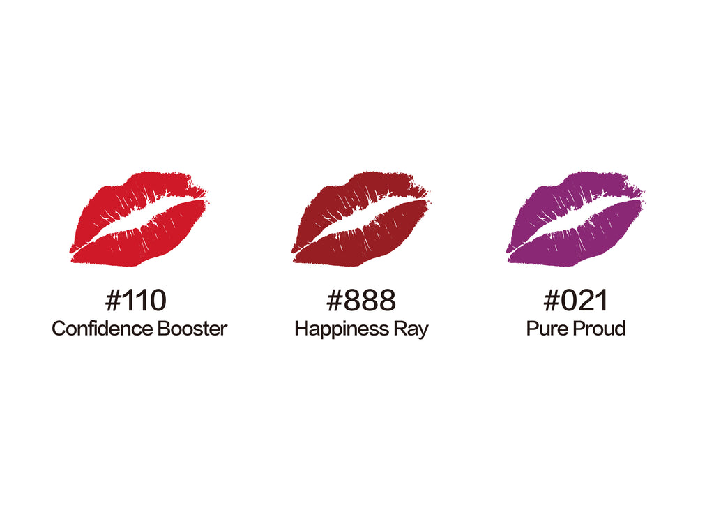 mini lipstick trio, lipsticks, lipstick matte, Moisturized Matte Lips , red lips, red lipsticks, lipstick shades, best lipstick shades,Rich Red, lipstick glossy, beauty, makeup, lipstick set on sale. joyful lux, adorable shy, wonder women, purple lipstick, pure proud, confidence booster, happiness ray, coral lipstick
