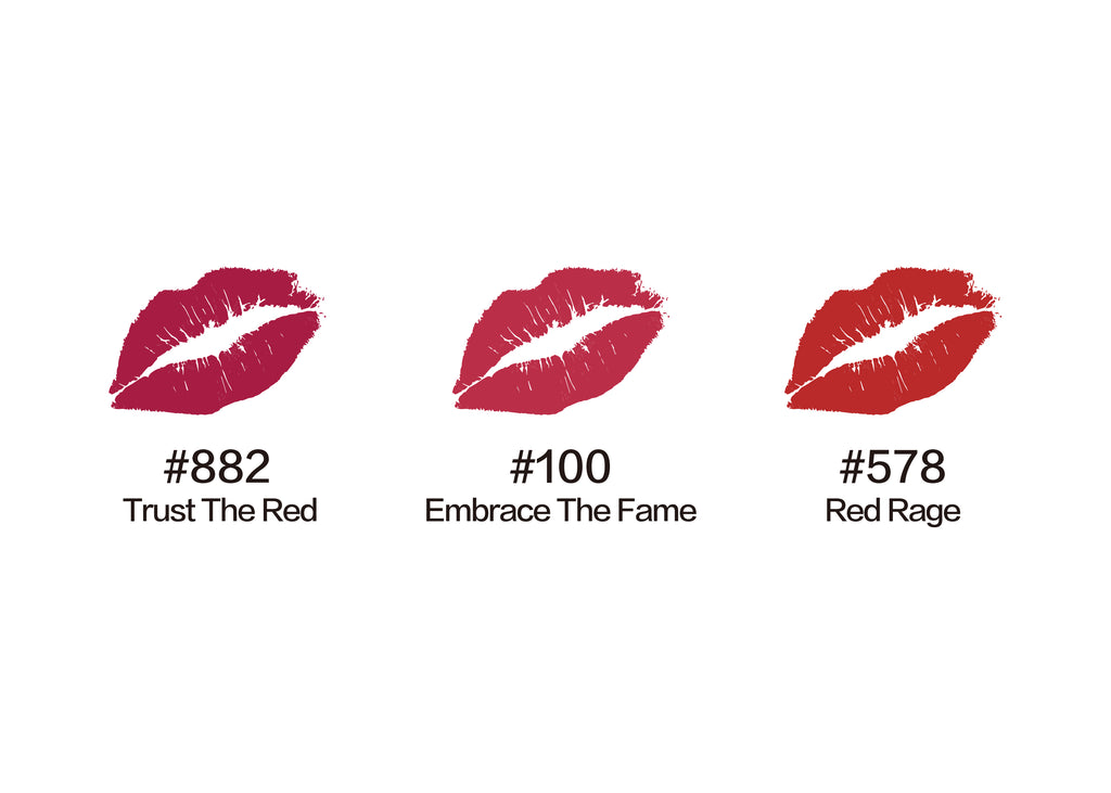mini lipstick trio, lipsticks, lipstick matte, Moisturized Matte Lips , red lips, red lipsticks, lipstick shades, best lipstick shades,Rich Red, lipstick glossy, beauty, makeup, lipstick set on sale. trust the red, embrace the fame, red rage