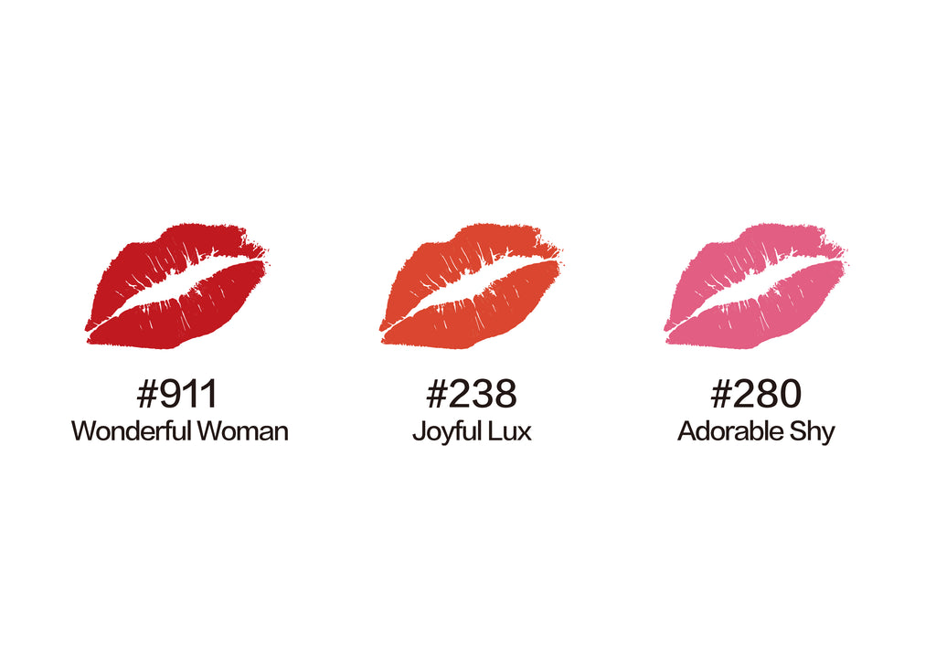 mini lipstick trio, lipsticks, lipstick matte, Moisturized Matte Lips , red lips, red lipsticks, lipstick shades, best lipstick shades,Rich Red, lipstick glossy, beauty, makeup, lipstick set on sale. joyful lux, adorable shy, wonder women