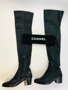 CHANEL Black Lambskin Over The Knee Boots Size 37