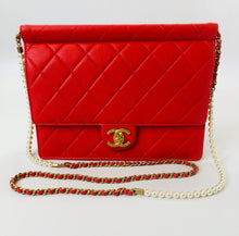 Load image into Gallery viewer, CHANEL Red Quilted Leather Flapbag with Pearl and Chain Strap
