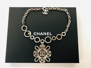 CHANEL Silver Pendant Necklace