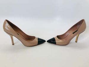 Louis Vuitton Beige Rose and Black Maureen Pumps Size 38