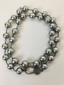 Rainey Elizabeth Long Silver Pearl and Pave Diamond Necklace