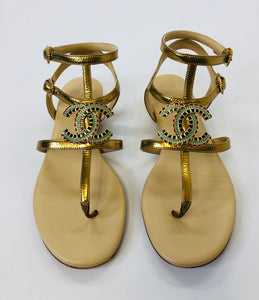 CHANEL Laminated Lambskin CC Thong Sandals size 37 1/2