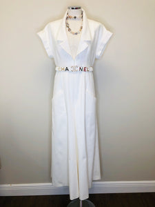 CHANEL Iridescent Ecru Jumpsuit and Belt Size 42
