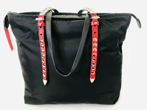 Prada Black Nylon Tote Bag With Leather and Studs
