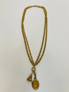 CHANEL Vintage Gold Plated Metal CC Charm Necklace