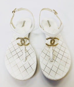 CHANEL Ivory and Gold Thong Sandals Size 37 1/2