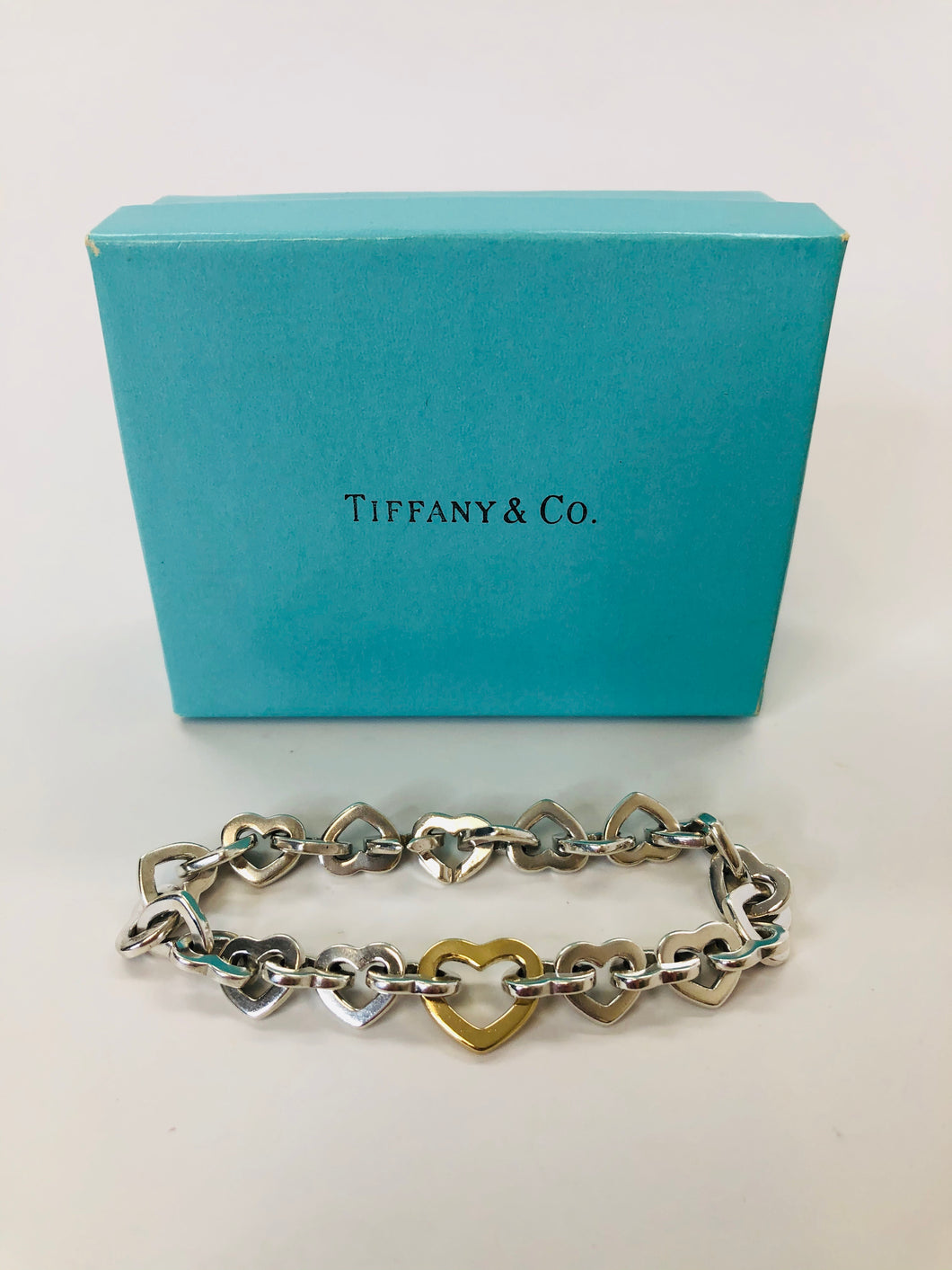 Tiffany & Co. Sterling Silver and 18K Heart Link Bracelet