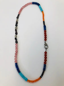 Rainey Elizabeth Long Multicolor Stone Necklace
