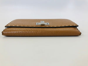 Fendi Camel Pebbled Leather Continental Wallet