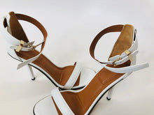 Load image into Gallery viewer, Givenchy White Leather Zipper Trim Nadia Sandals Size 39 1/2